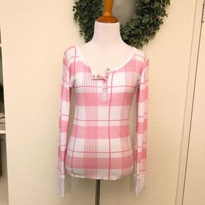 Wildfox pink/white long sleeve